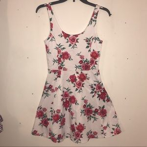White Dress with Rose Pattern